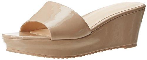 Nine West Women's Confetty Patent Platform Sandal,Natural Synthetic,9.5 M US