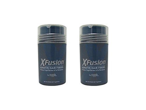 Bundle - 2 Items : XFusion Regular Size Keratin Hair Fibers, Dark Brown, 0.53 Oz (Pack of 2) by XFusion