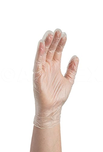 AMMEX Medical Vinyl Disposable Gloves - on hand