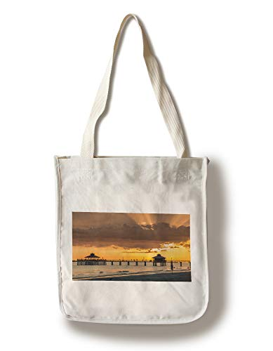 Lantern Press Fort Myers Beach, Florida - Sunset on The Beach with a Pier & Gazebos 9007442 (100% Cotton Tote Bag - Reusable) (Fort Myers On A Map Of Florida)