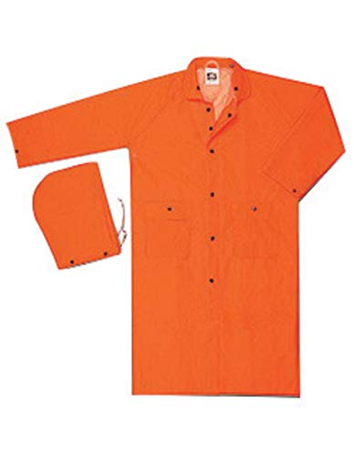 MCR Safety Medium Orange 49'' Classic .35 mm Polyester And PVC 2-Piece Coat With Detachable Hood by River City Rainwear Co
