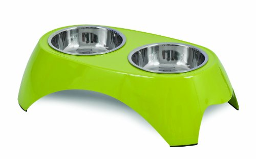 Petmate 28 oz Italia Raised Double Bowl, Large, Green
