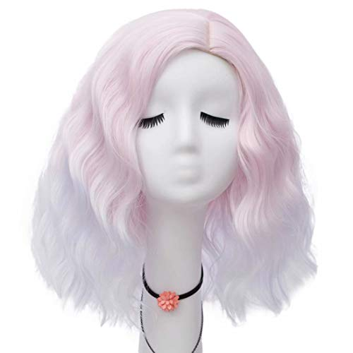 Lefinis Pink White Women's Short Curly Wavy Shoulder Length Synthetic Pastel Cosplay Wig Colorful Costume Wigs