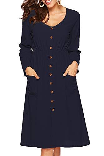 a11d6043bd8 Sarin Mathews Womens Dresses Long Sleeve V Neck Button Down Casual ...