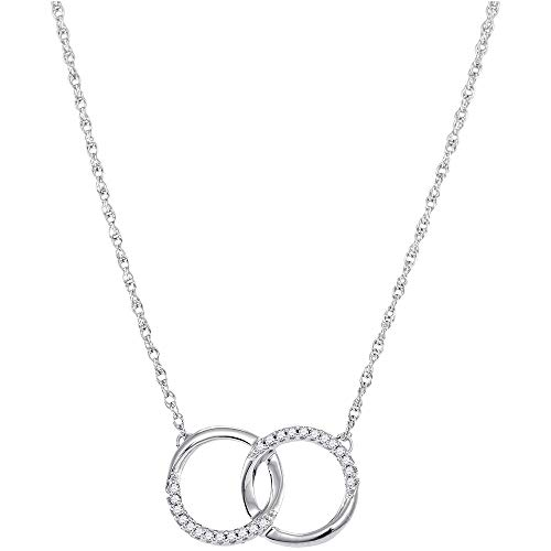 Jewels By Lux 10kt White Gold Womens Round Diamond Interlocking Double Circle Pendant Necklace 1/10 Cttw In Pave Setting (I1-I2 clarity; H-I color) -