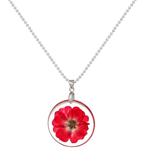 stylesilove Womens Pressed Natural Daisy Flower Resin Pendant Necklace(Fuchsia with Silver Chain)