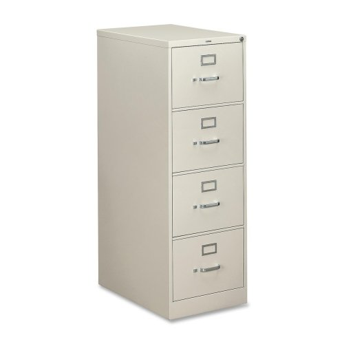 HON 310 Series Vertical File With Lock - 18.25'' x 26.5'' x 52'' - Metal - 4 x File Drawer(s) - Legal - Security Lock, Rust Resistant, Ball-bearing Suspension, Label Holder - Light Gray by HON®