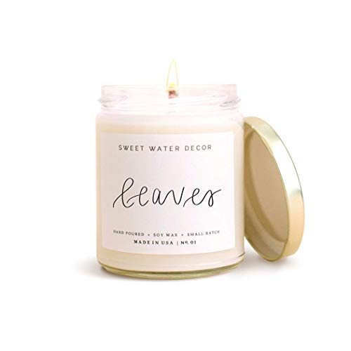Sweet Water Decor Leaves Natural Soy Wax Candle Glass Jar Scented Apples Orange Cinnamon Cloves Made in USA Lead Free Cotton Wick Modern Rustic Decor non toxic candles Fall Home Decor Autumn Seasonal