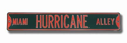 NCAA Miami Hurricane Alley Street Signstreet Sign, Team Color, 36