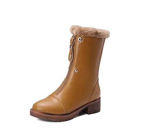 stivali Boot Martin cerniera centrale Vera 36 36 Velvet sopra spessa CAMEL Flip camel Plus donna anteriore suola pelle 7w0OqI