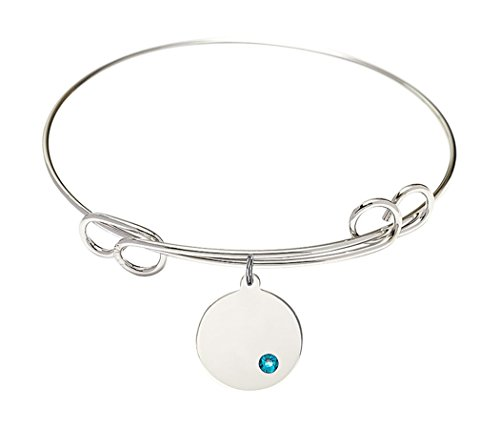 Rhodium Plate Double Loop Bangle Bracelet with December Birth Month Round Charm, 8 (8 Inch Birth Plate)
