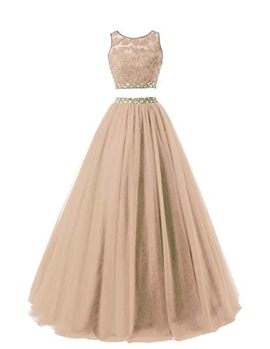 HEIMO Women's Long 2 Pieces Lace Sequined Evening Party Gowns Beaded Appliques Formal Prom Dresses H127 2 Champagne