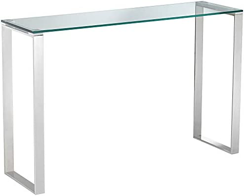 David 47 1 28221 Wide Steel and Glass Modern Console Table – Studio 55D
