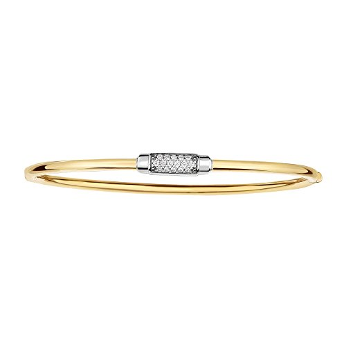 (14K White and Yellow Gold Shiny Domed Bangle 7