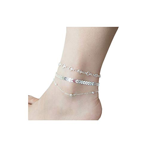 - LANG XUAN Boho Jewelry Silver Multiple Layered Crystal Arrow Heart Sand Beach Rhinestones Charm Anklets for Women