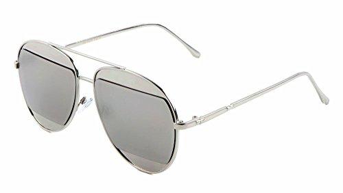 Iridium Lens Unisex Sunglasses - Hip Hop Split Iridium / Mirror Lens Aviator Sunglasses (Silver, Mirror Lenses)
