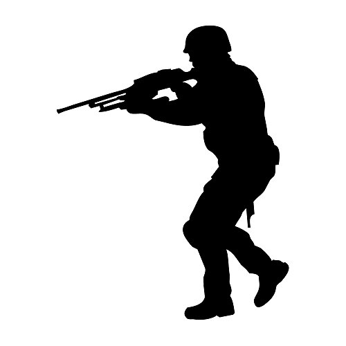 3 Piece Seal (Auto Vynamics - MILITARY-SOLDIER01-3-GBLA - Gloss Black Vinyl Military Soldier Silhouette Decal - Walking w/ Gun 01 Design - 2.375-by-3-inches - (1) Piece Kit - Single Decal)