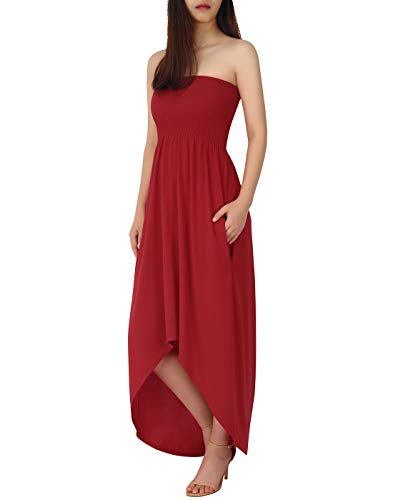 HDE Women's High Low Cut Floral Maxi Dress Plus Casual Sundress with Pockets Red