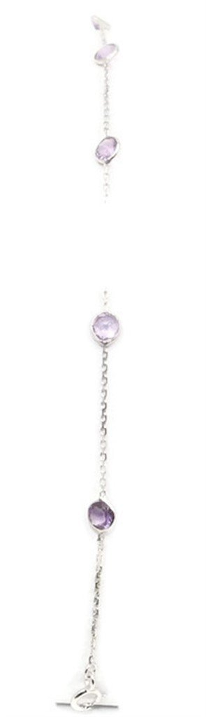Amethyst Gemstones 10'' Anklet 14k White Gold Chain & Extension by Sophia Fine Jewelry (Image #5)