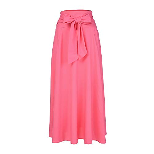 (VEZAD Women High Waist Pleated A Line Long Skirt Front Slit Belted Maxi Skirt Pink)
