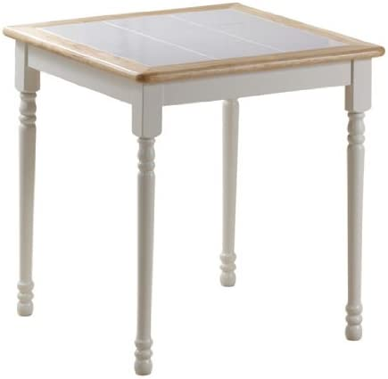 Boraam Square Tile Top Table, 30-Inch, White Natural