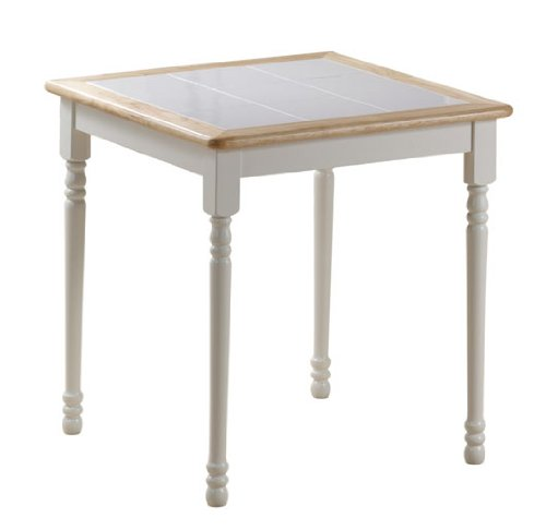 "Boraam Square Tile Top Table, 30-Inch, White/Natural - Solid hardwood construction for strength and stability; White ceramic tiles inlaid in top 30"" dining height; Natural finish around top border White legs and apron; 8"" square white ceramic tiles inlaid in top - kitchen-dining-room-furniture, kitchen-dining-room, kitchen-dining-room-tables - 31U7Id0ZM2L -"