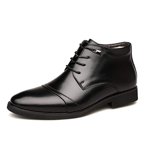 Phil Betty Mens Booties Warm Plus Velvet Non-Slip Lace-Up Business Casual Shoes ()