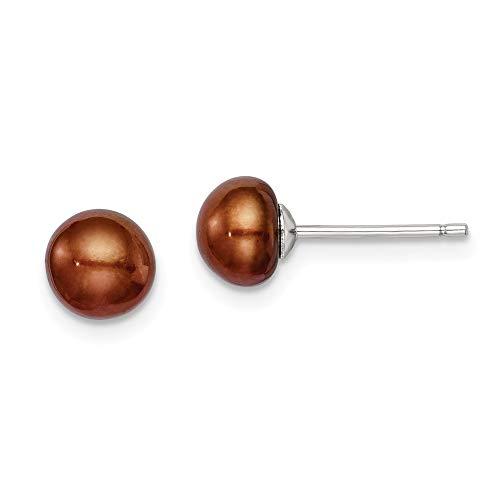 chocolate pearl stud earrings - 7