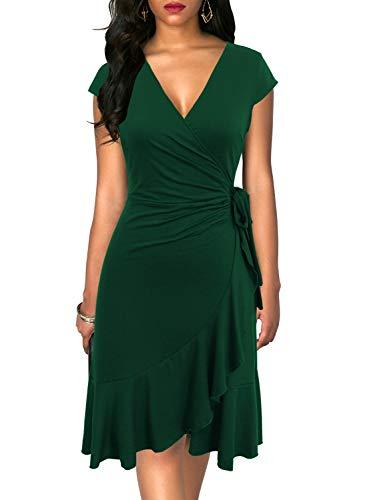 Berydress Women's Classic Cap Sleeve V-Neck Knee-Length Sheath Ruffle Cocktail Work Black Faux Wrap Dress (M, 6092-Dark Green)