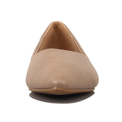 Guilty Shoes Womens Classic Pointy Toe Ballet Slip On - Casual Comfortable Flats Beige Pu