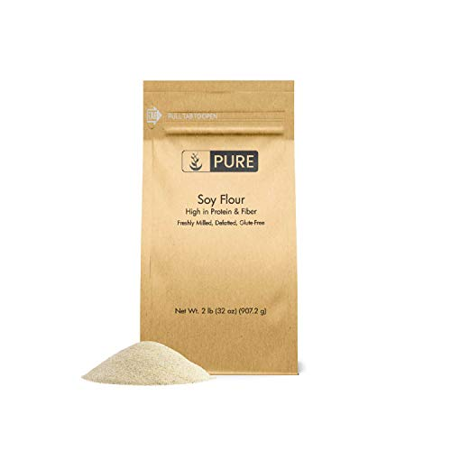 Soy Flour (2 lb) by Pure Organic Ingredients, Defatted, Ideal for Baking, Cooking, Frying, and Thickening, High in Protein, Less Carbs than All-Purpose Flour