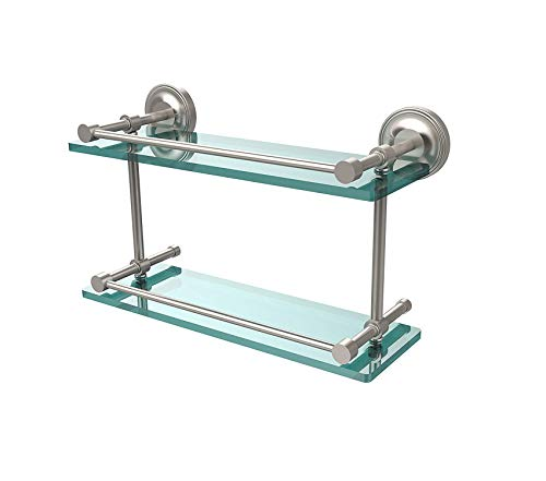Home Décor Premium Prestige Regal 16 Inch Double Glass Shelf with Gallery Rail Satin Nickel Storage Durable Strong -