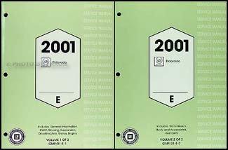2001 Cadillac Eldorado Repair Shop Manual Original 2 Volume Set
