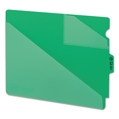 Out Guides w/Diagonal-Cut Pockets, Poly, Letter, Green, 50/Box, Sold as 1 Box ()
