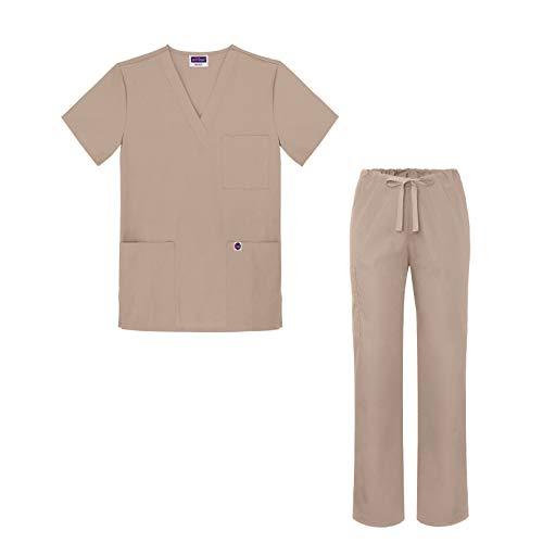 (Sivvan Medical Uniform Scrub Set - V-Neck Scrub Top Drawstring Scrub Pants Unisex fit - S8402 - Khaki - S)