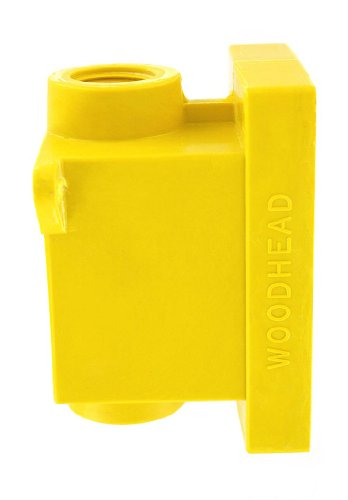 Leviton 453CR Fd Box 2 Ko Openings 3/4-Inch for Straight, Locking Receptacle, Wetguard IP66, Yellow
