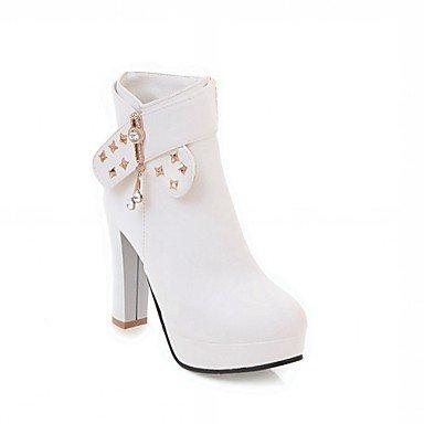 Robusto Invierno De Redondo Casual amp;m Moda Heart Primavera El Remache Botas Para Dedo White Semicuero Mujer Botines Tobillo Zapatos Hasta Tacón v0qfXqw