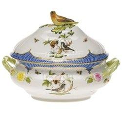 Herend Rothschild Bird Blue Border Tureen With Bird - Bird Tureen