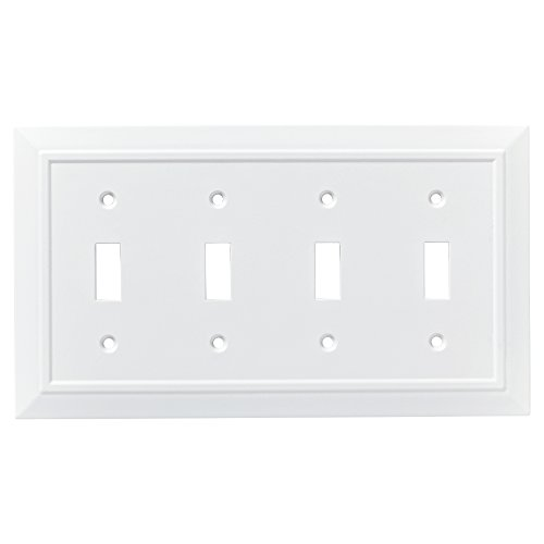 Quad Switch Wall Plate - Franklin Brass W35251-PW-C Classic Architecture Quad Switch Wall Plate/Switch Plate/Cover, White