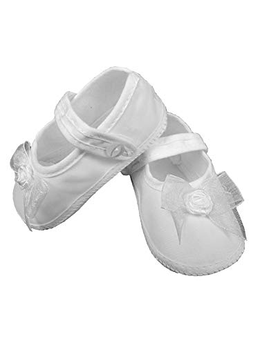 Little Things Mean A Lot Baby Girls White Shimmery Organza Bow Christening Shoes 2 Baby