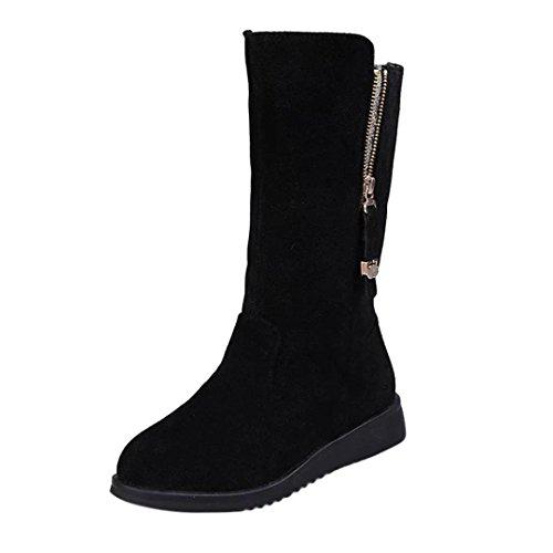 s,Sunfei Women Buckle Ladies Faux Warm Bling Knight Boots Flat Martin Shoes (Black, 36) ()