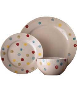 Beautiful 12 Piece Hand Painted Spotty Stoneware Dinner Set.  sc 1 st  Amazon UK : spotty dinnerware - pezcame.com