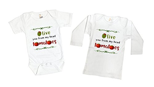 Funny Garden Olive You From My Head Tomatoes Toddler Kids Tee Shirt or Baby (Tomato Suit)
