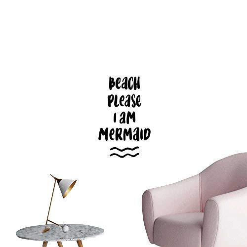 Alexandear Im Mermaid Art Decor 3D Wall Mural Wallpaper Stickers Pop Culture Pun Beach Please The Internet in Jokes Confidence Boosting Phrase Elevator Stairs Wall Black White W20 x H28]()