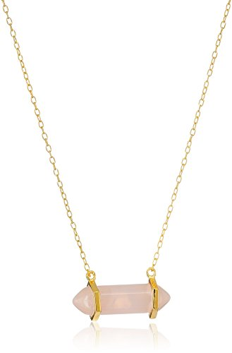 18k Yellow Gold Plated Sterling Silver Genuine Rose Quartz Horizontal Chakra Point Necklace, 16