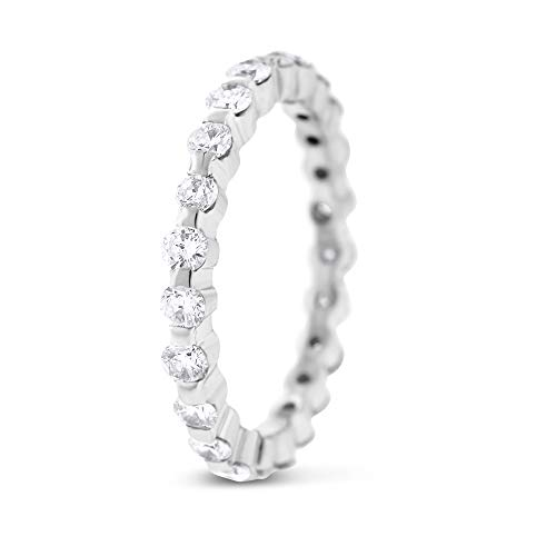 0.80 Ct. Natural Diamond Shared Prong Eternity Band in Solid 14k White Gold