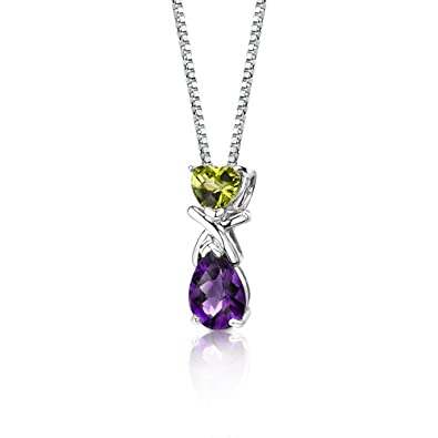 Peridot and Amethyst Pendant Necklace Sterling Silver 2.25 Carats