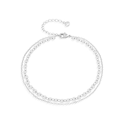 Fettero Silver Plated Coin Anklet Women Handmade Dainty Boho Beach Foot Chain Adjustable Double Layer Round Disc