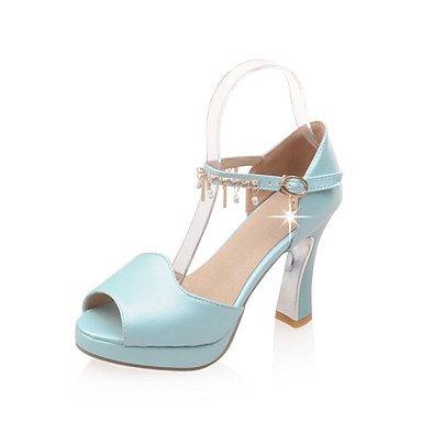LFNLYX Sandalias mujer Primavera Verano Otoño Otros Polipiel Office & Carrera parte & Cadena casual, vestido de noche azul Rosa blanco Blue