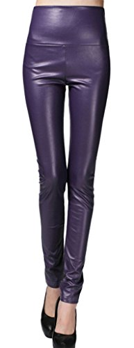 Purple Faux Leather - Lotus Instyle Thick High Waist Faux Leather Leggings Women Leather Pants-Purple S
